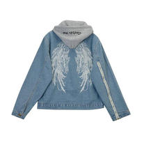 Personality wild back wings embroidery detachable hat hooded cowboy jacket loose spring
