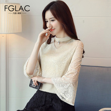 Buy FGLAC Women clothing New Arrivals 2017 Autumn Flare Sleeved Lace tops Elegant Slim V-Neck women blouse shirt for $17.08 in AliExpress store