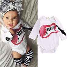 New Infant Baby Girl Boy Guitar Pattern Cotton Romper Jumpsuit Long Sleeve Winter Baby Clothes
