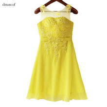 drnwof Chiffon Knee Length Bridesmaid Dresses Beading Pink Bright Yellow Purple Tailor-Made Plus Size Cheap Wedding Party Dress