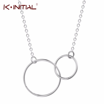 Kinitial 1Pcs Double Circle Necklace 925 Sterling Silver Necklace Jewelry Initial Eternity Hoop Infinity Pendant Necklaces