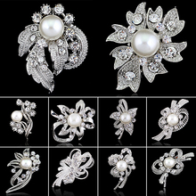 New Bridal Bouquet Rhinestone Crystal Flower Brooches Women Hijab Scarf Pin Silver Color Simulated Pearl Coat Sweater Broches