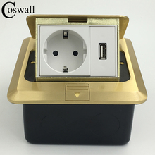 All Copper Panel EU Standard Pop Up Floor Socket Electrical Outlet With 1000mA USB Charger Port For Mobile