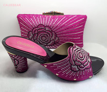 New Fuchsia Italian Shoes With Matching Bags African Women Shoes and Bags Set For Prom Party Summer Sandal YZ09 Size 37-43