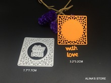 2pc wish letters with love square lace DIY steel stencil for Scrapbook Card picture frame envelope decorative metal cutting dies