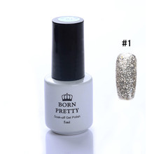 1 Bottle BORN PRETTY 5ml Soak Off UV Gel Glitter Sand Platinum Silver Series Nail Art Gel 12 Colors Available