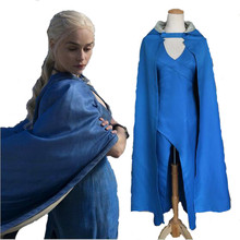 Game of Thrones Daenerys Targaryen Cosplay Costume Blue Dress Cloak A Song Of Ice And Fire Movie Cosplay Dress Costume