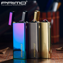 2017 Brand PRIMO Ultra thin Arc Pulse Ligther Windproof Electric Arc Lighter Mini Novelty Cigarette USB Lighters Smokeless(China)