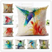 Europe Style colorful Bird oil painting Cotton Linen Cushion Cover Bed Pillowcases Fashion Throw Pillow Covers Decorations(China)