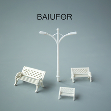 BAIUFOR Figurines & Miniatures, Mini Park Chair Streetlight Fairy Garden Decor Doll House Accessories Building Model Material(China)