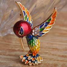 Blucome Red Enamel Bird Brooches Pins for Women Gold-color Banquet Costume Decoration Game Cut Magpie Animal Brooch Hijab Pin