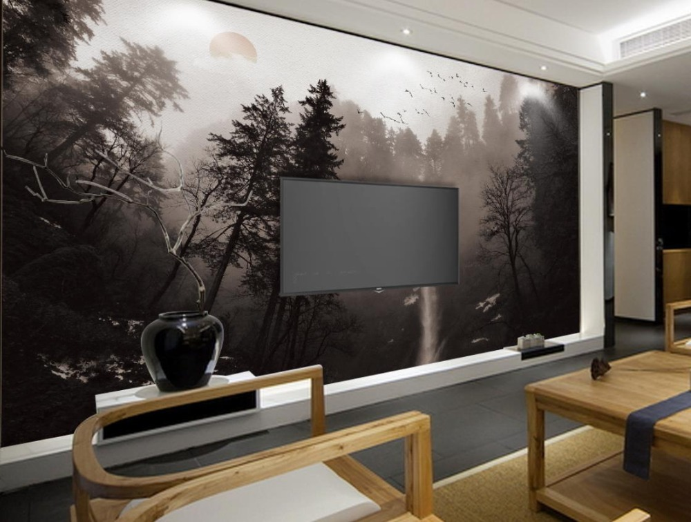 New Chinese style Large Photo Wallpaper Trees Waterfall Landscape Living Room tv Wall Bedroom 3d Wall Murals Nonwoven Wallpaper<br>