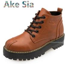 Ake Sia Flat-bottomed boots round head short boots 2017new students retro shoes autumn and winter short sleeve Martin boots tide(China)