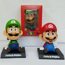 13cm Super Mario Bros Action Figure Toys Mario Head Shaking Figure Model Car Furnishing Articles Baby Kids Toy For Children Gift(China)