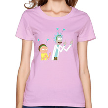 cartoon rick and morty Personalized Cotton Printing O-Neck Short Pink T Shirts Girl's Casual Loose Workout T-Shirt(China)