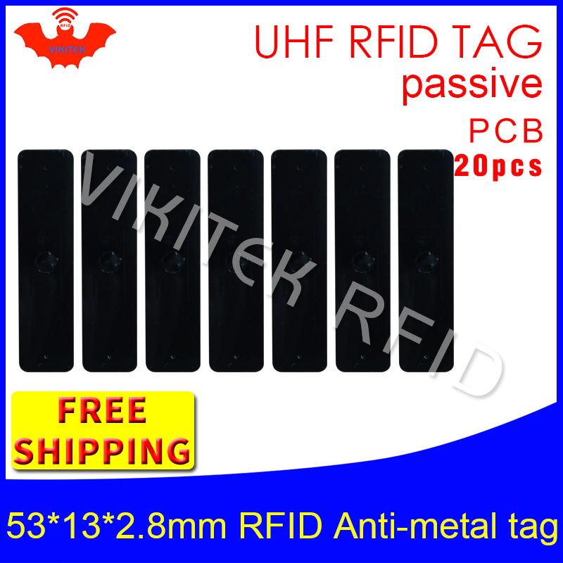 UHF RFID metal tag 915m 868m EPC 20pcs free shipping fixed-assets management 53*13*2.8mm rectangle PCB passive RFID tags<br>