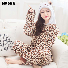 HKSNG Hot Sale Winter Women Adult Cute Sexy Animal Leopard Kitty Cat Christmas Pajamas Onesies Cosplay Pyjamas For Party