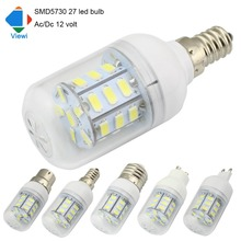Viewi 5X led light bulbs 12 volt E27 E12 E14 B22 GU10 G9 Ac/Dc 12v bulb lamp 5630smd 27leds energy saving lampe solar lighting