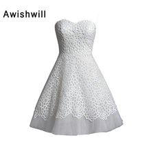 Customized Elegant Sleeveless Short Wedding Dress Bridal Gowns A Line Sweetheart Neckline Lace and Tulle Little White Dresses(China)