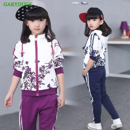 GARYDUCK 2017 brand baby children long sleeve clothing set Hooded coat +pants girls kids sport suit spring autumn 3-14years<br>