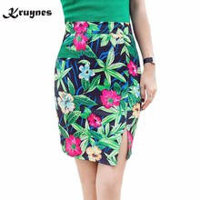 Buy Hot sale Pencil Skirts Flower Print Vintage Women Office Mini Skirts Work Wear Formal High Waist Open split Saia Plus Size S~3XL for $11.56 in AliExpress store