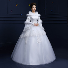 Free shipping Real Photo New High Collar Full Sleeves Winter Wedding Dresses Plus Size Cheap Bride Frocks Bridal Gowns HSD-07
