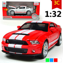 Mustang GT500 1:32 alloy car model sound and light back to power car models, children's toys, gifts, free shipping(China)