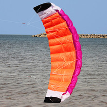 New  High Quality 2m Nylon Dual Line Parafoil Kite With Control Bar Line Power Braid Sailing Kitesurf Rainbow Sports Beach