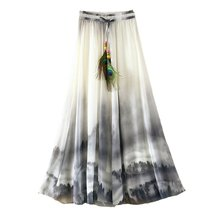 Buy 2017 Summer Bohemian Long Skirt Chiffon Vintage Faldas Largas Elegant Print Saia Longa Ladies Casual Maxi Skirts Women Clothes for $13.33 in AliExpress store