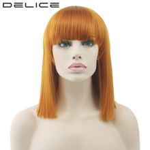 DELICE Women's Short Straight Orange Wig High Temperature Fiber Synthetic Hair Piece None Lace Party Cosplay Wigs(China)