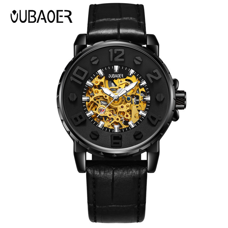 New OUBAOER Fashion Business Mens Mechanical Watch Round Dial Casual Stylish Wristwatch for Man relogio masculino de luxo<br>