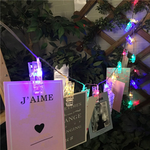 10 PCS LED MultiColor Card Photo Clip Lamp Battery Box Wedding Home Decoration Romantic Home Decor Lights For Wedding Decoration(China)