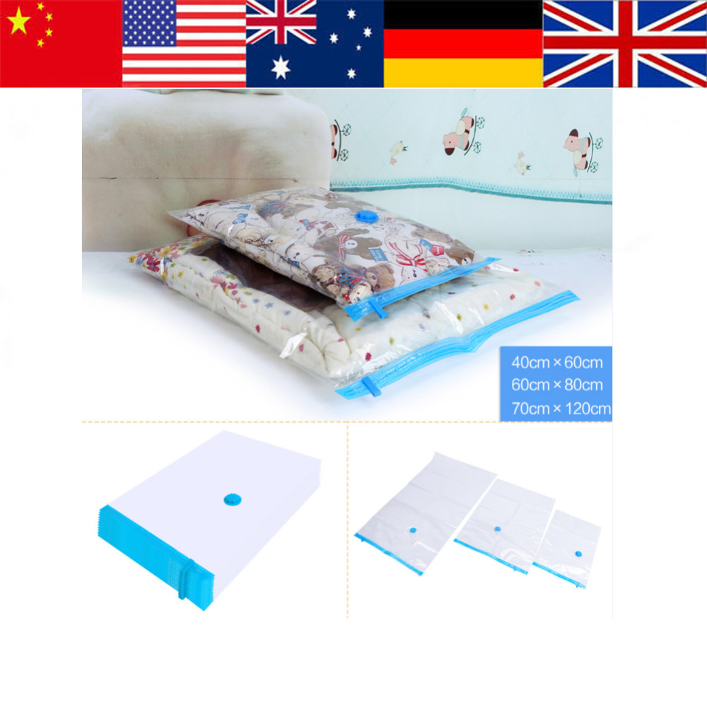 20PCS Large Vacuum Bag Transparent Border Foldable Compressed Organizer Storage Bag Space Saver Travel Clothes Seal Bags 3 Size(China (Mainland))