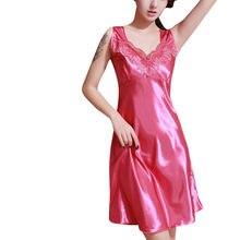 60f32cf0e09 Elegant Women Sleepwear Satin Nightwear V-neck Lace Ruffles Mini Nightdress  Nightgown Chemise De Nuit Sexy Lingerie Camison 40