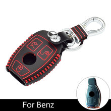 ATOBABI 3 Buttons Leather Car Key Fob Case Mercedes Benz W203 W204 W211 CLK C180 E200 AMG C E S Class Keys Hand Sewn Cover