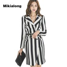 Mikialong 2017 Vintage Black White Striped Women Coat Korean Fashion Double Breasted Formal Jackets Women Business Ladies Suit(China)