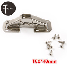 1Set 3.4mm No-Drilling Hole Cabinet Hinge Bridge Shaped Spring Frog Hinge Full Overlay Cupboard Door Hinges 100*40mm(China)