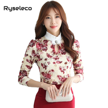 Women Autumn Winter Sweet Floral Prints Lace Ruffles Collar Cutout Rabbit Fur Decoration Long Sleeve Basic Blouses Large Shirts(China)
