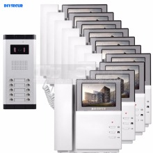 "DIYSECUR 4.3"" HD Monitor Apartment Video Door Phone Video Intercom Doorbell System 700 TVLine Camera Touch Key for 10 Families"