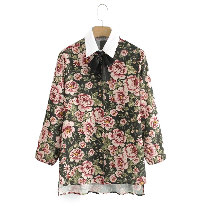 Long sleeve blouse shirt women tops blusas Fashion floral print shirt feminine blouses Spliced lace blouse femme(China)