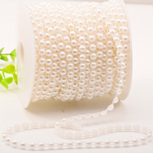 5M 4mm 6mm 8mm Semi-circle Artificial Pearl Beads Chain Two Rows Cotton Line Beads Event Wedding Party Garlands DIY Decorations
