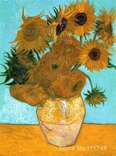Buy art canvas online Still Life Vase with Twelve Sunflowers Vincent Van Gogh reproduction paintings Hand painted High quality