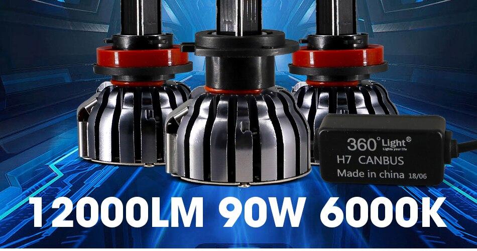 2 hlxg 4 Sides 12000LM H8 H11 Fog lights No Error Free h7 led canbus H4 Lamp HB3 9005 HB4 90W light bulbs for cars 24V 12V 6000K