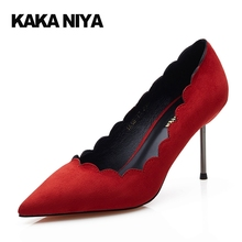 Elegant Pointed Toe New Green High Heels Shoes 2017 Ladies Pumps Stiletto Red 4 34 Small Size 8cm 3 Inch Commute Pull On