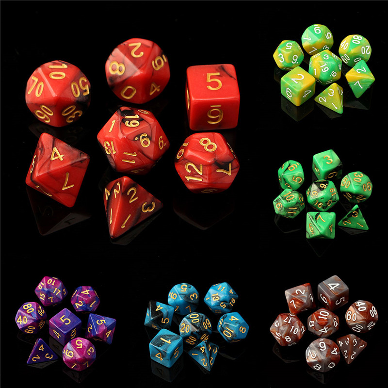 7pc/Set TRPG Dice For Dungeons Dragons D4-D20 Multi Sided Games Dices 6color Desktop Polyhedral Set Acrylic Plastic Toy Kit<br><br>Aliexpress
