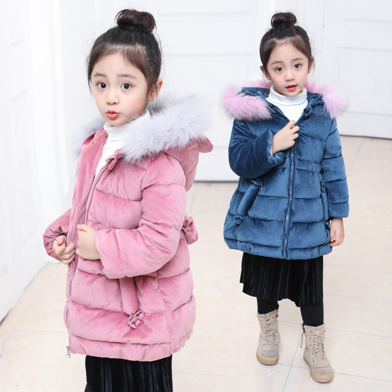 2017 Children Winter Jacket Girls Warm Coat with Fur Hooded Baby Big Girl Long Thick Cotton-Padded Parka Kids Snow Wear Clothes <br>