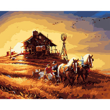 40x50  Harvest Farm Mural home decor wall Oil Painting Coloring By Numbers on Canvas art Modular poster pictures DY156