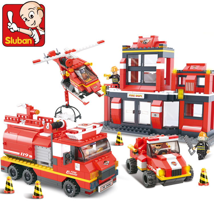 Building Blocks Compatible with lego NEW City Fire Department emergency fire engine helicopter Figures duplo original series toy<br>