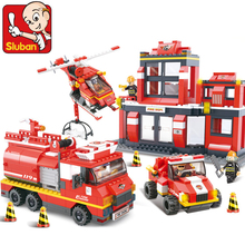 Building Blocks Compatible with lego NEW City Fire Department emergency fire engine helicopter Figures duplo original series toy(China)
