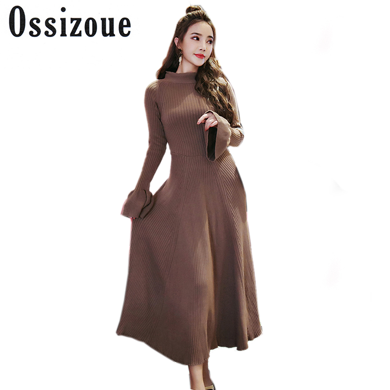 Ossizoue Women Long Knitted Dress 2017 Winter Sexy Flare Sleeve Open Back Slim Sweater Dress Fit And Flare Thicken Warm DressÎäåæäà è àêñåññóàðû<br><br>